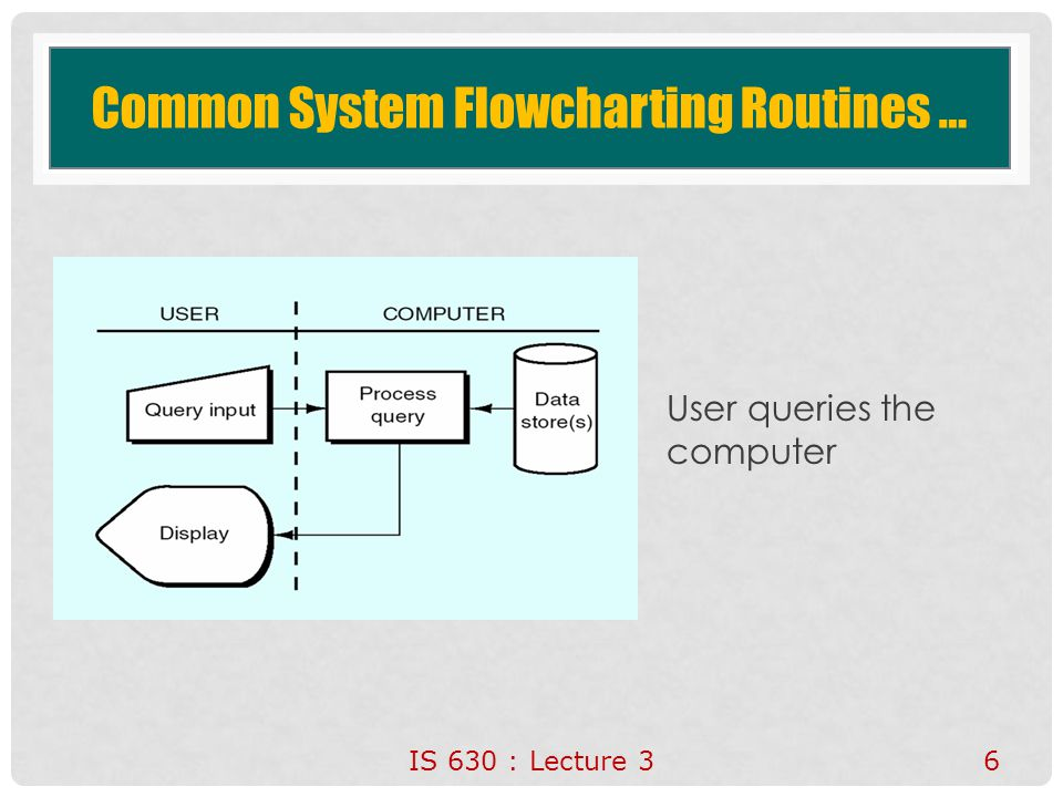 Common System Flowcharting Routines … User queries the computer IS 630 : Lecture 3 6