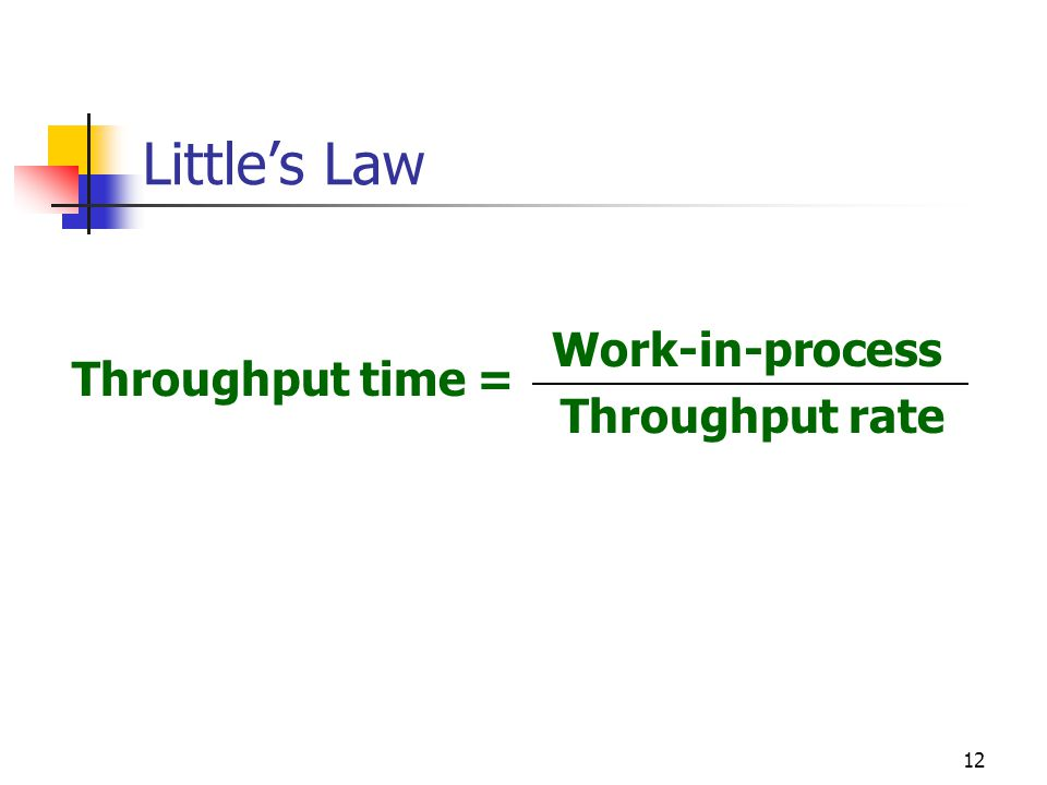 12 Little's Law Throughput time = Work-in-process Throughput rate