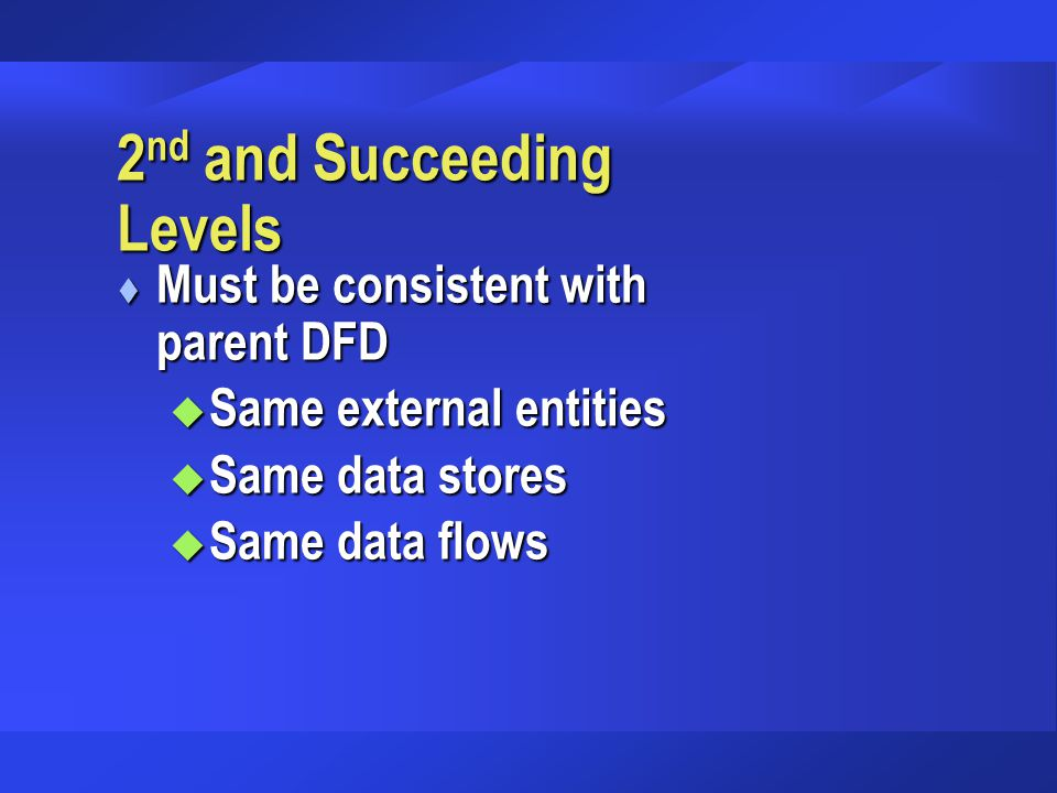 2 nd and Succeeding Levels t Must be consistent with parent DFD u Same external entities u Same data stores u Same data flows