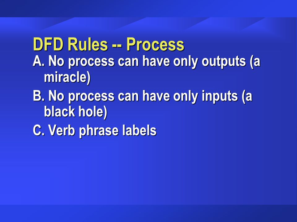 DFD Rules -- Process A.No process can have only outputs (a miracle) B.