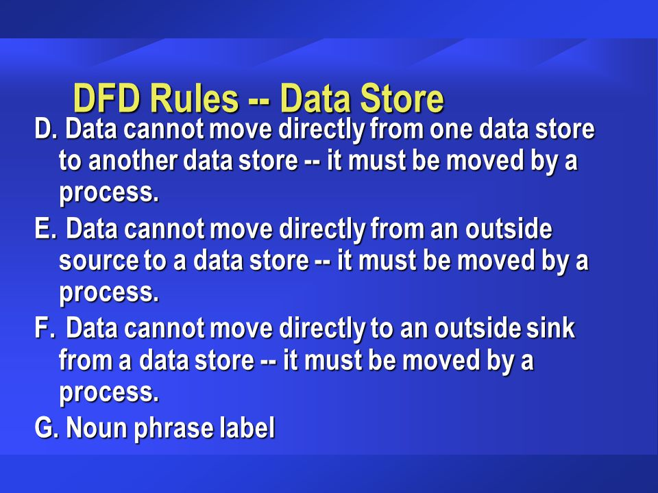 DFD Rules -- Data Store D. Data cannot move directly from one data store to another data store -- it must be moved by a process. E. Data cannot move d