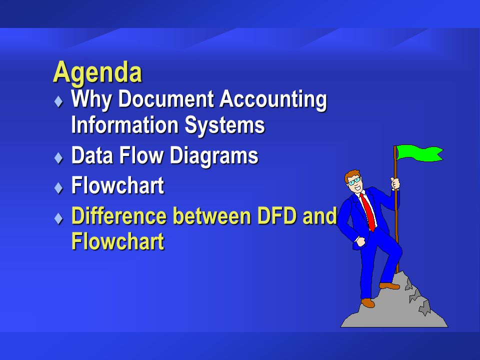 Agenda t Why Document Accounting Information Systems t Data Flow Diagrams t Flowchart t Difference between DFD and Flowchart