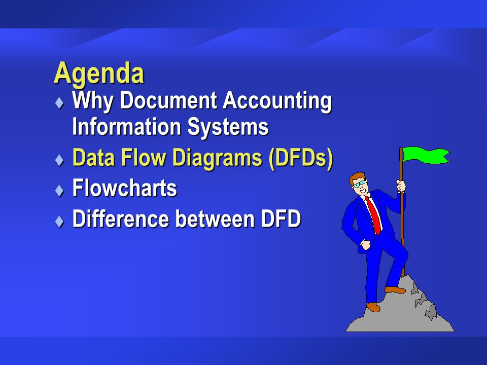 Agenda t Why Document Accounting Information Systems t Data Flow Diagrams (DFDs) t Flowcharts t Difference between DFD