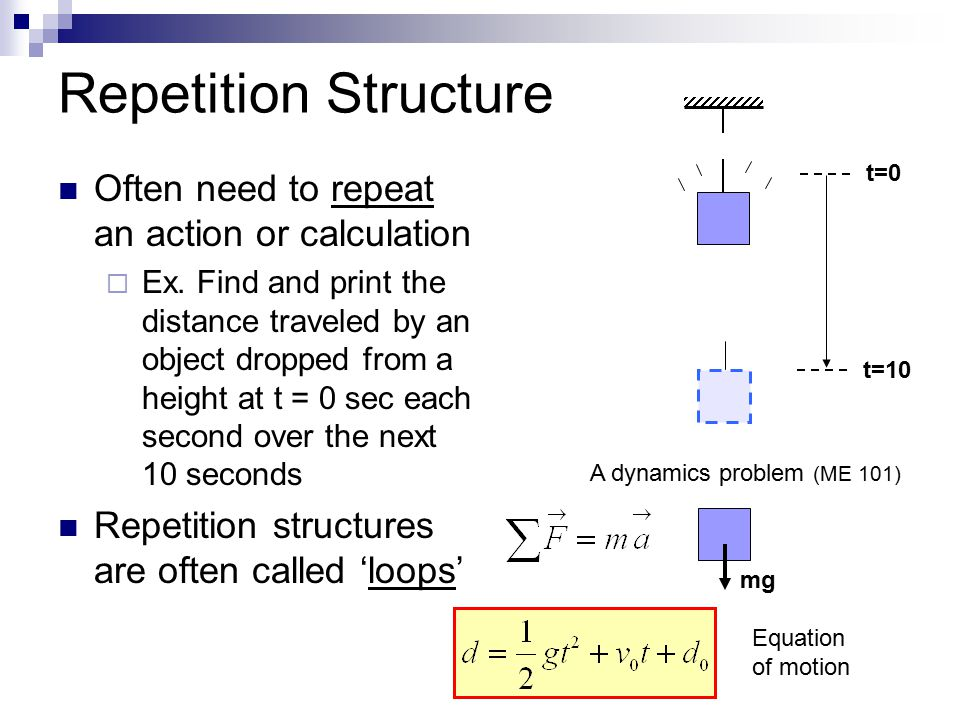 3 Types of Repetition Structures  while  do/while  for while tests a condition at the beginning of the loop  condition must first be true for the loop to run even once do/while tests a condition at the end of the loop  loop will run at least once for facilitates initializing and incrementing the variable that controls the loop  Especially helpful for: Looping for a known number of times Loops that count or that need to increment a variable