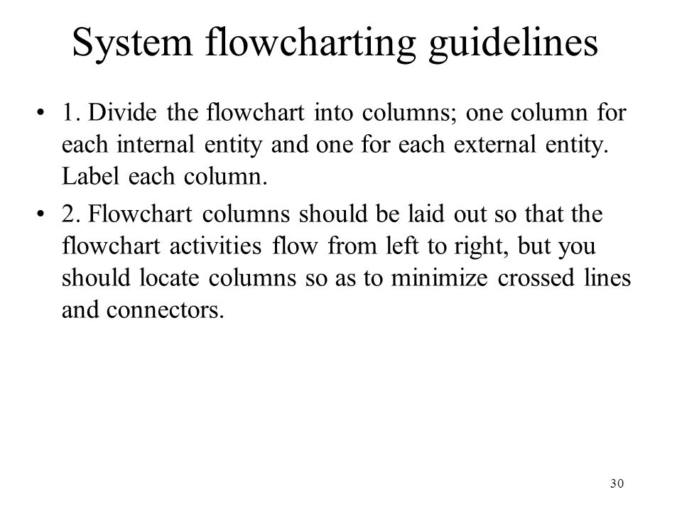 30 System flowcharting guidelines 1. Divide the flowchart into columns; one column for each internal entity and one for each external entity. Label ea