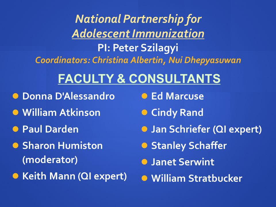 National Partnership for Adolescent Immunization PI: Peter Szilagyi Coordinators: Christina Albertin, Nui Dhepyasuwan Ed Marcuse Cindy Rand Jan Schrie