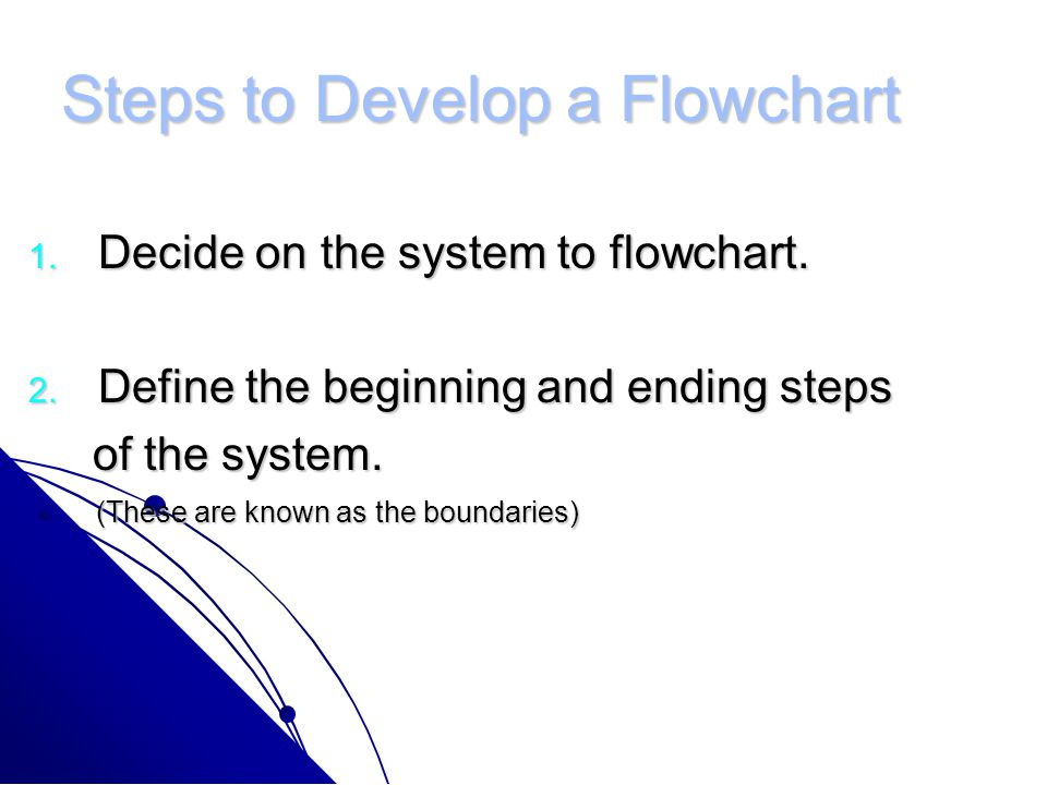 Steps to Develop a Flowchart 1.Decide on the system to flowchart.