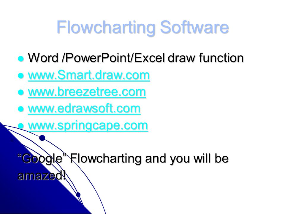 Flowcharting Software Word /PowerPoint/Excel draw function Word /PowerPoint/Excel draw function www.Smart.draw.com www.Smart.draw.com www.Smart.draw.com www.breezetree.com www.breezetree.com www.breezetree.com www.edrawsoft.com www.edrawsoft.com www.edrawsoft.com www.springcape.com www.springcape.com www.springcape.com Google Flowcharting and you will be amazed!