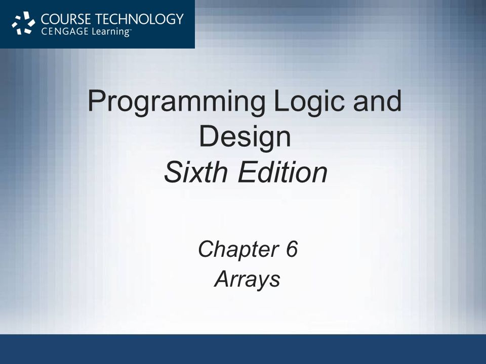 Objectives In this chapter, you will learn about: Arrays and how they occupy computer memory Manipulating an array to replace nested decisions Using constants with arrays Searching an array Using parallel arrays Programming Logic & Design, Sixth Edition2