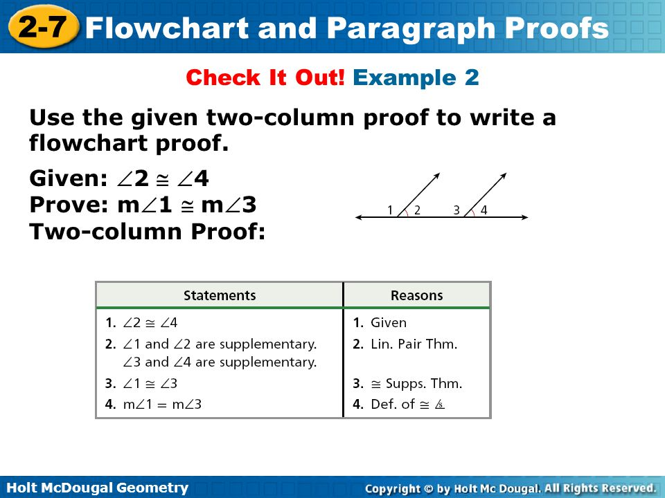 Holt McDougal Geometry 2-7 Flowchart and Paragraph Proofs Check It Out! Example 2 Given: 2  4 Prove: m1  m3 Two-column Proof: Use the given two-