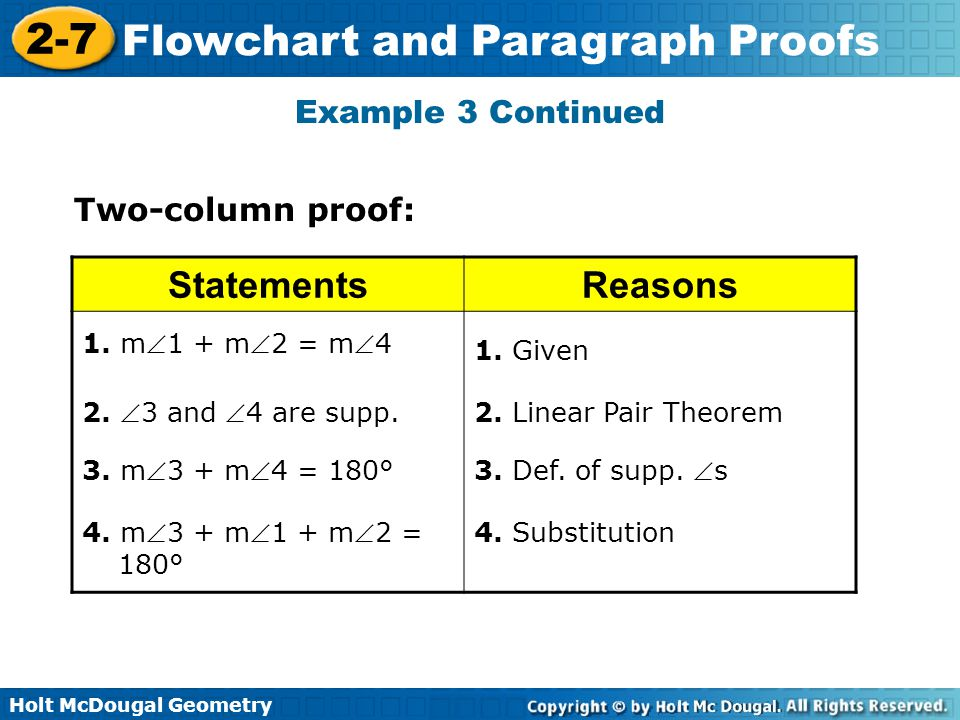 Holt McDougal Geometry 2-7 Flowchart and Paragraph Proofs Example 3 Continued Two-column proof: StatementsReasons 1. m1 + m2 = m4 1. Given 2. 3 an
