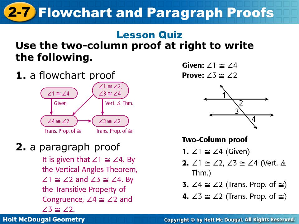Holt McDougal Geometry 2-7 Flowchart and Paragraph Proofs Lesson Quiz Use the two-column proof at right to write the following. 1. a flowchart proof 2