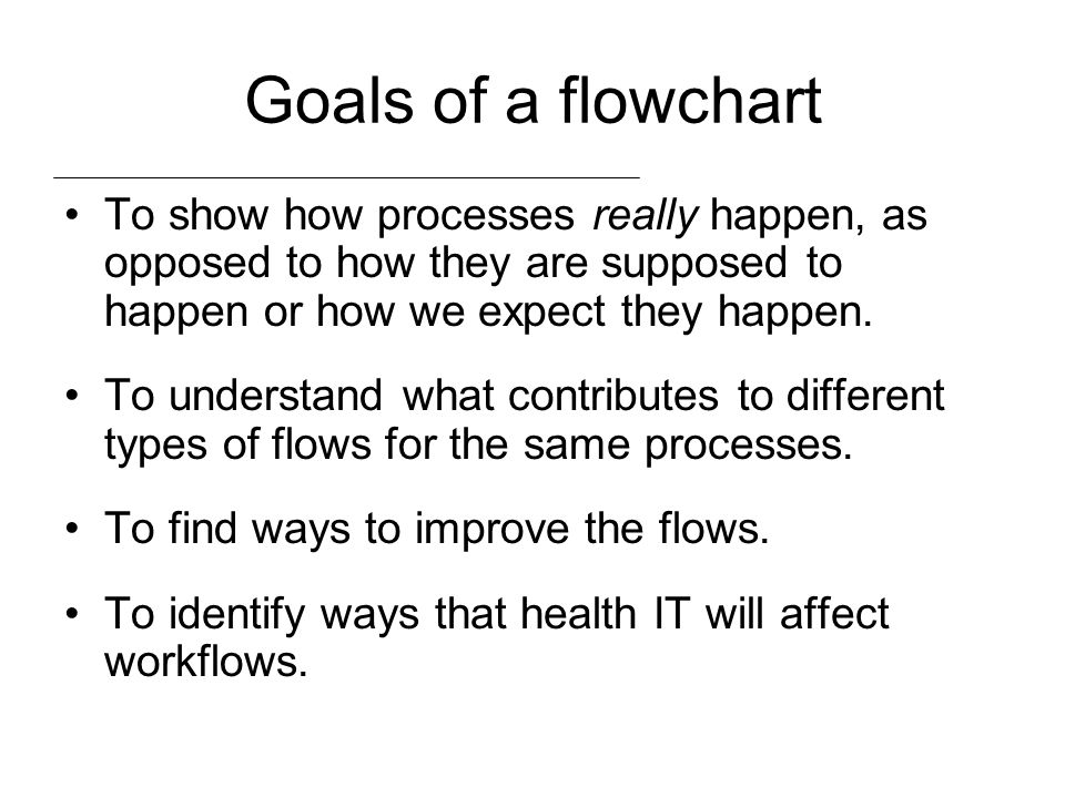Goals of a flowchart To show how processes really happen, as opposed to how they are supposed to happen or how we expect they happen. To understand wh