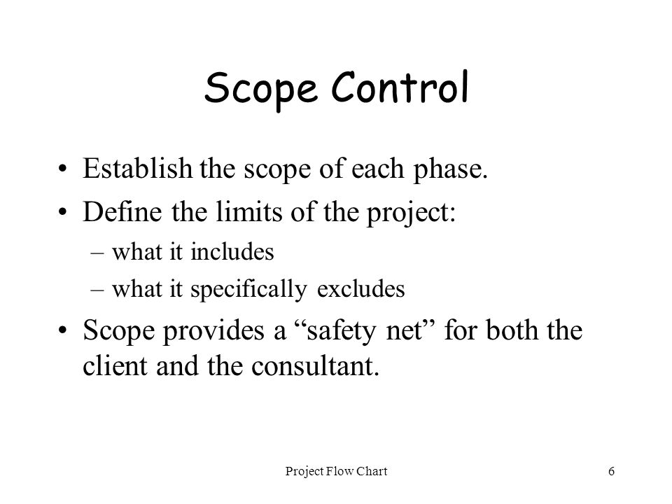 Project Flow Chart6 Scope Control Establish the scope of each phase. Define the limits of the project: –what it includes –what it specifically exclude