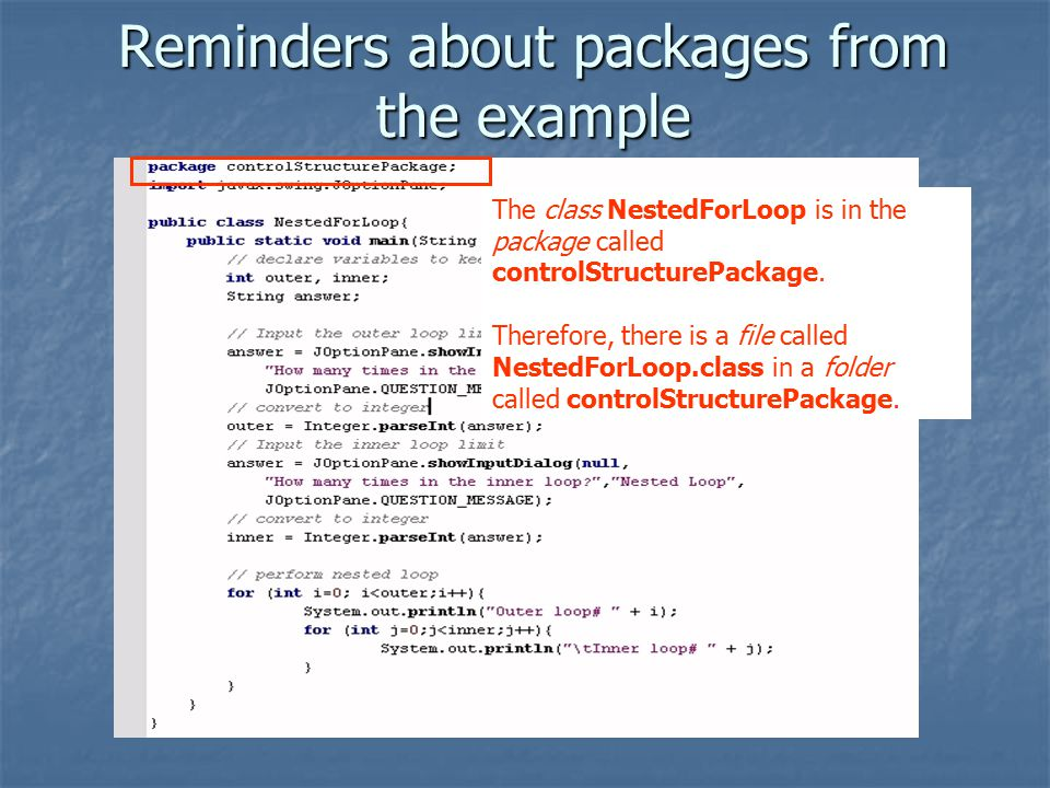 Reminders about packages from the example The class NestedForLoop is in the package called controlStructurePackage.