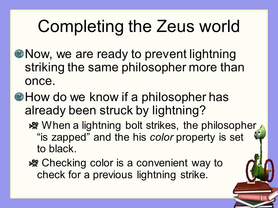Completing the Zeus world Now, we are ready to prevent lightning striking the same philosopher more than once.