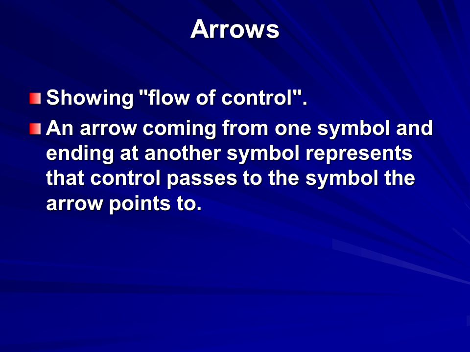 Arrows Showing flow of control .