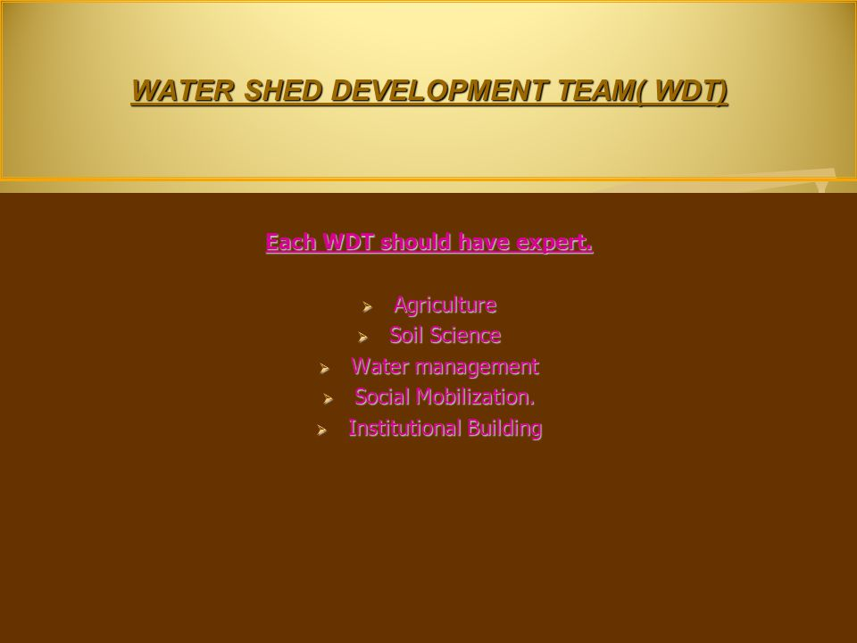 WATER SHED DEVELOPMENT TEAM( WDT) Each WDT should have expert.