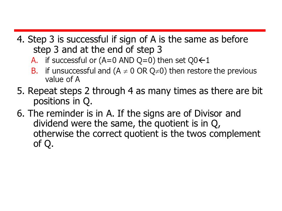 4. Step 3 is successful if sign of A is the same as before step 3 and at the end of step 3 A.if successful or (A=0 AND Q=0) then set Q0  1 B.if unsuc