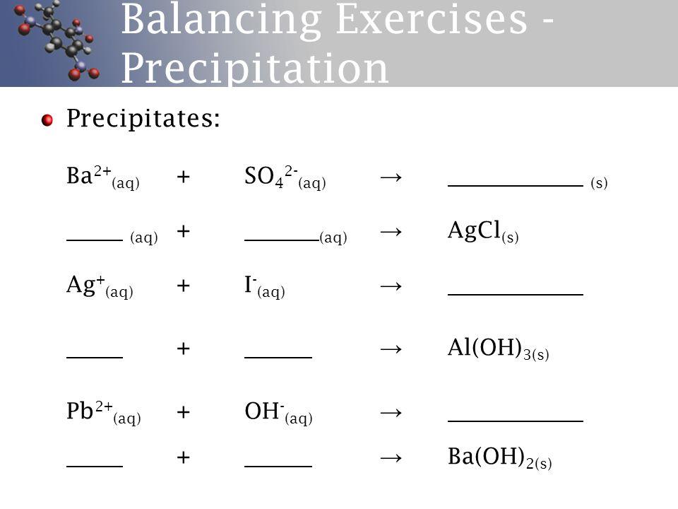 Balancing Exercises – Complex Ions Complex Ions: (aq) + (aq) → Cu(NH 3 ) 4 2+ (aq) Al 3+ (aq) + OH - (aq) → (aq) + → Zn(NH 3 ) 4 2+ (aq) Ag + (aq) + NH 3 (aq) → + → Pb(OH) 4 2- (aq) Fe 3+ (aq) + SCN - (aq) →