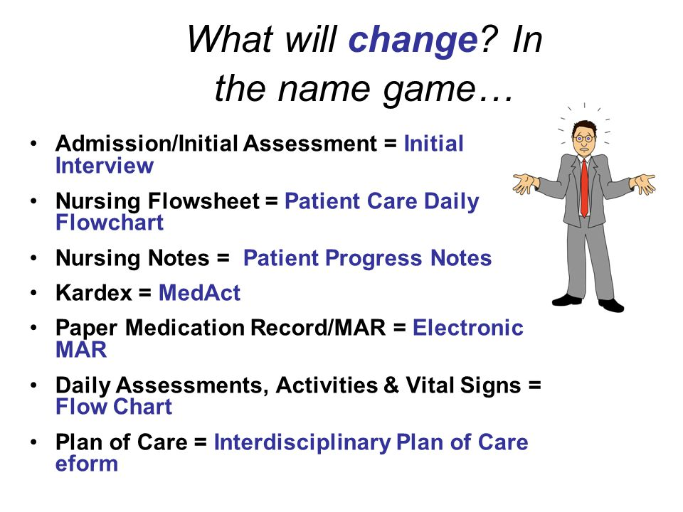 Flowchart - used for daily charting / Nurses Notes E-forms – used for one time forms example: Present on Admission Pharmacy – used for Medication Admi