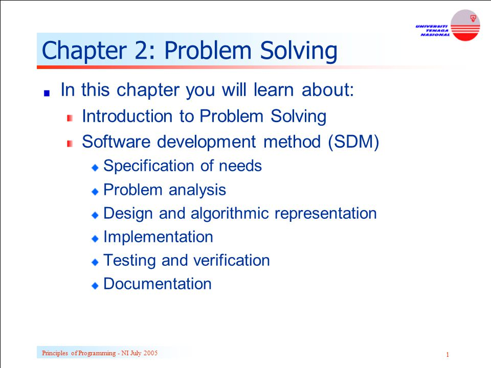 Principles of Programming - NI July 2005 1 Chapter 2: Problem Solving In this chapter you will learn about: Introduction to Problem Solving Software d