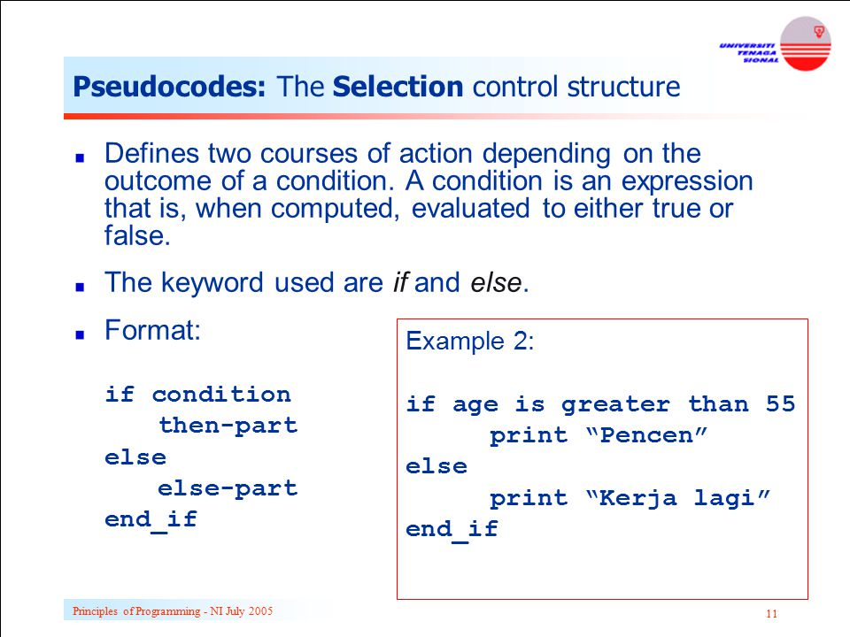 Principles of Programming - NI July 2005 11 Pseudocodes: The Selection control structure Defines two courses of action depending on the outcome of a c