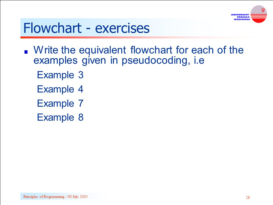 Principles of Programming - NI July 2005 28 Flowchart - exercises Write the equivalent flowchart for each of the examples given in pseudocoding, i.e E