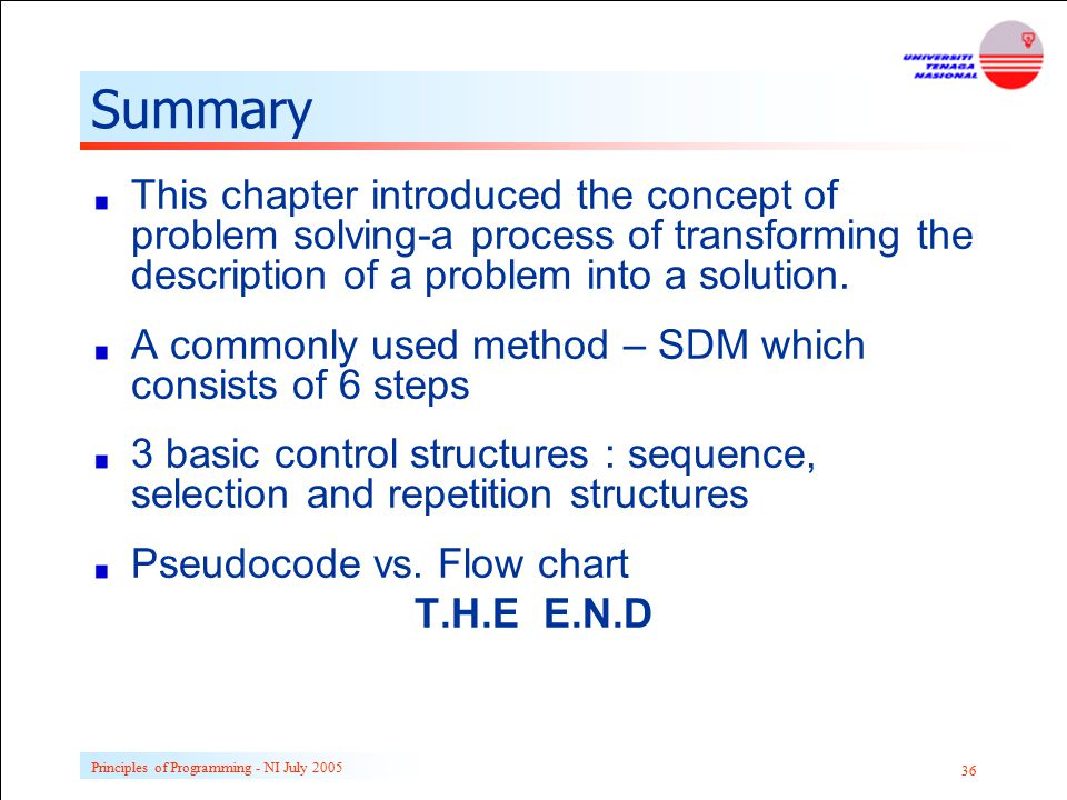 Principles of Programming - NI July 2005 36 Summary This chapter introduced the concept of problem solving-a process of transforming the description o