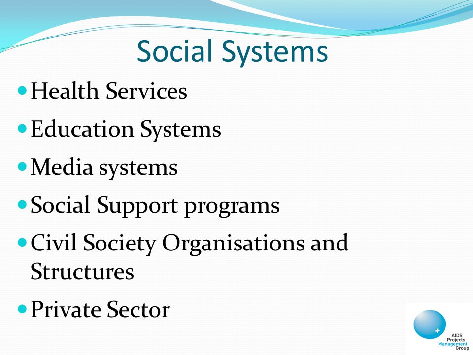 Social Systems Health Services Education Systems Media systems Social Support programs Civil Society Organisations and Structures Private Sector