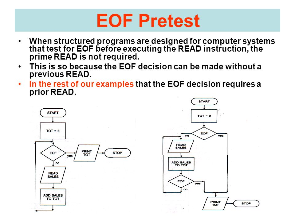 EOF Pretest When structured programs are designed for computer systems that test for EOF before executing the READ instruction, the prime READ is not required.