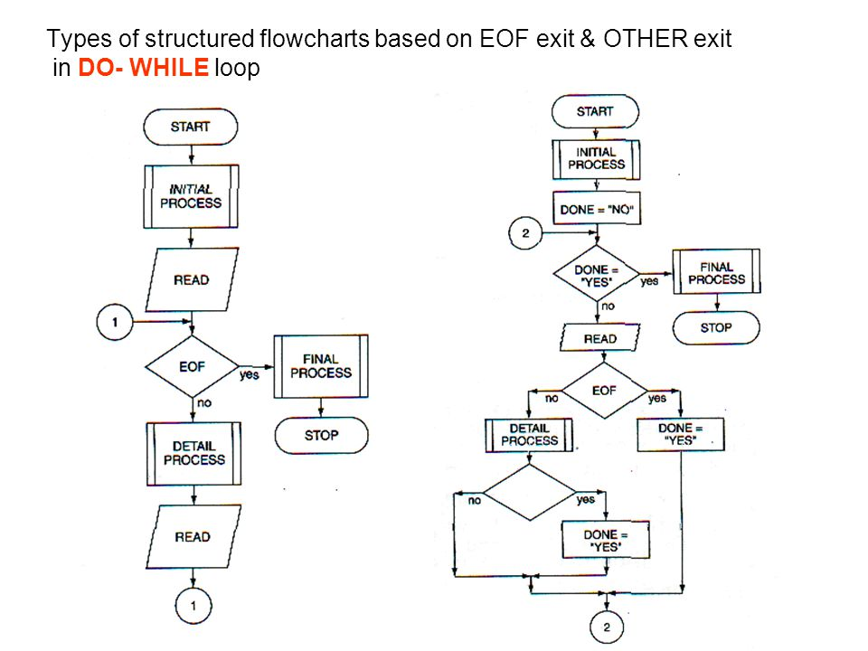 Types of structured flowcharts based on EOF exit & OTHER exit in DO- WHILE loop