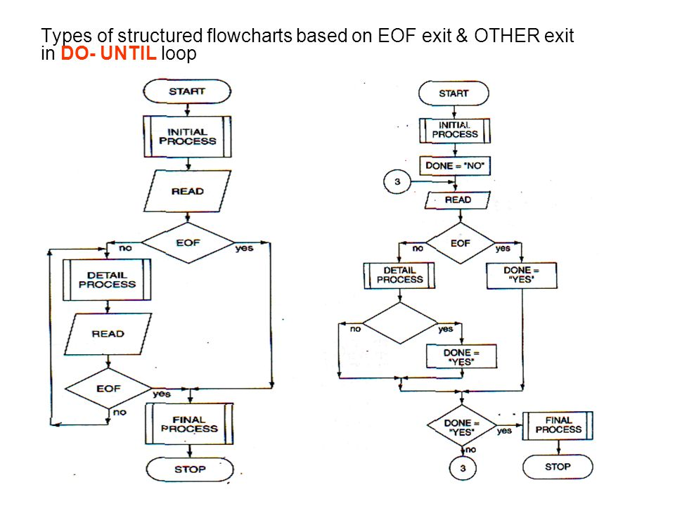 Types of structured flowcharts based on EOF exit & OTHER exit in DO- UNTIL loop