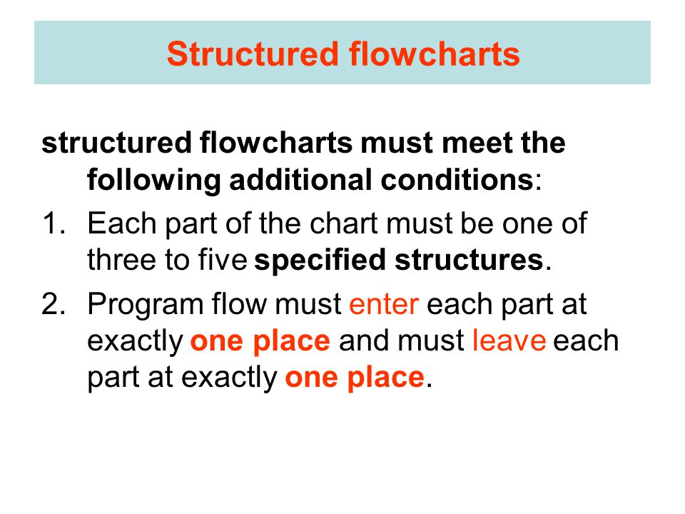 Structured flowcharts structured flowcharts must meet the following additional conditions: 1.Each part of the chart must be one of three to five specified structures.