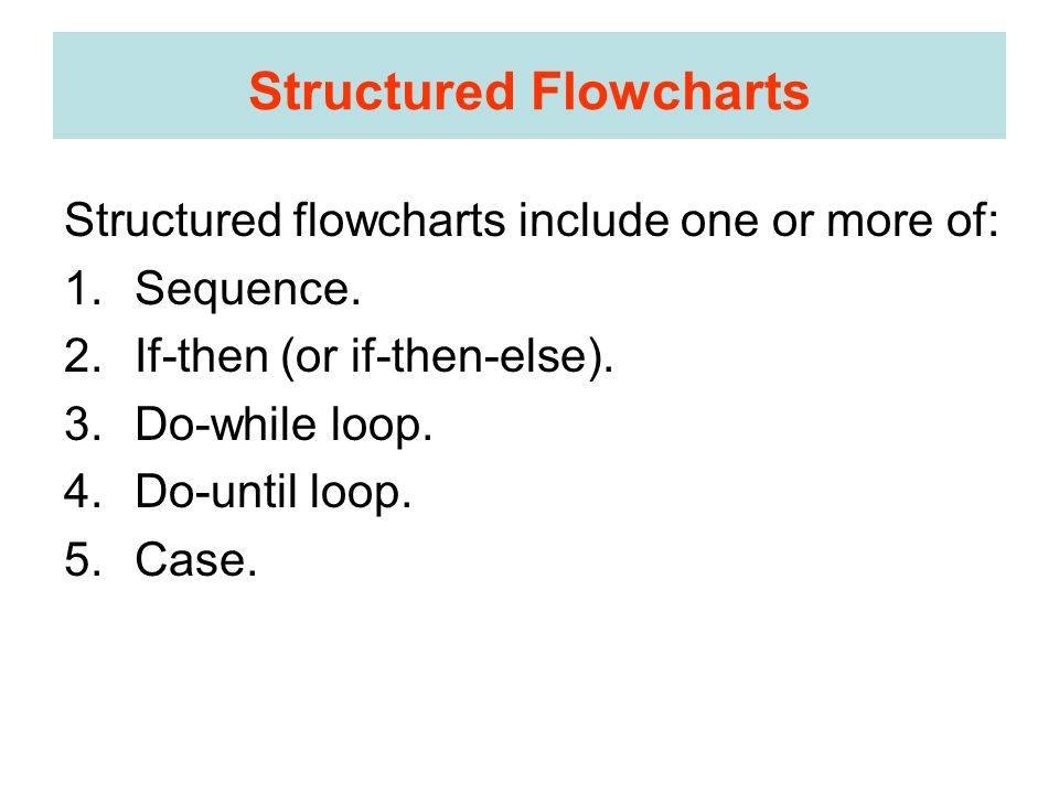 Structured Flowcharts Structured flowcharts include one or more of: 1.Sequence.