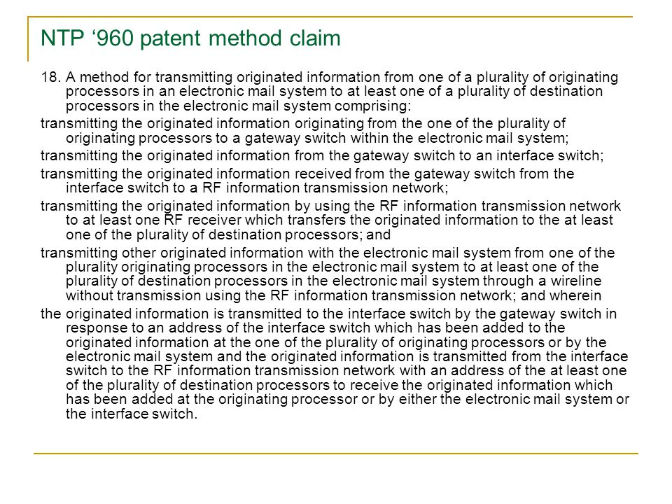 NTP '960 patent method claim 18.