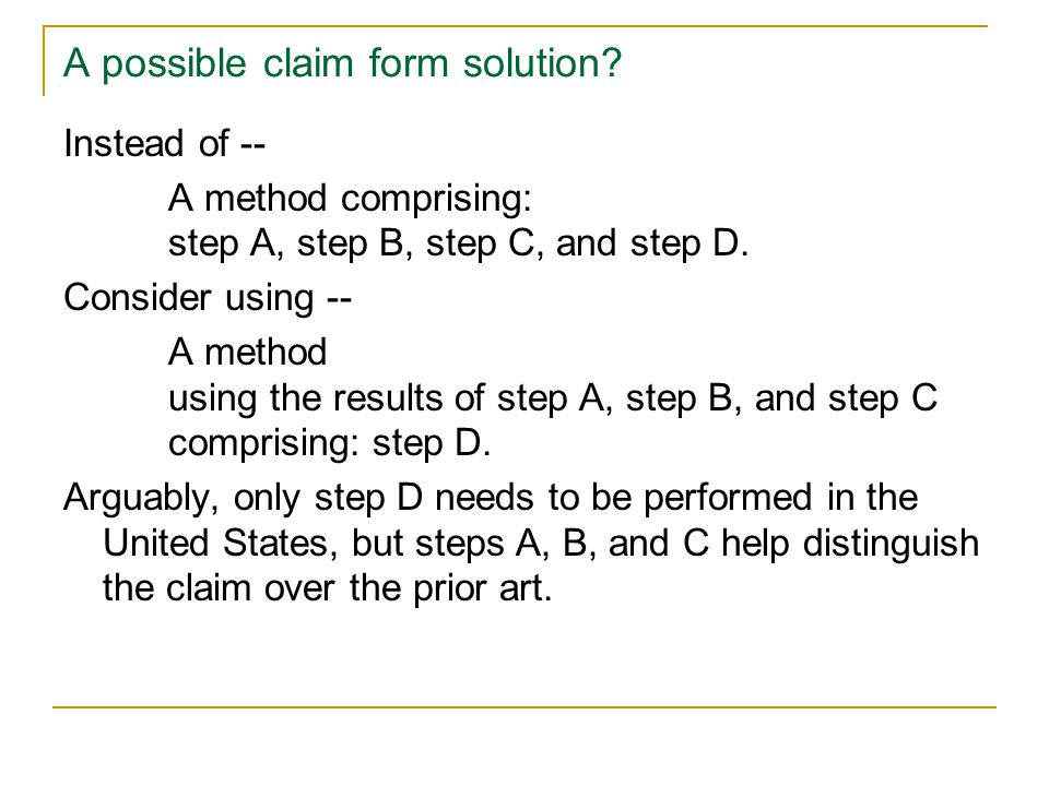 A possible claim form solution.