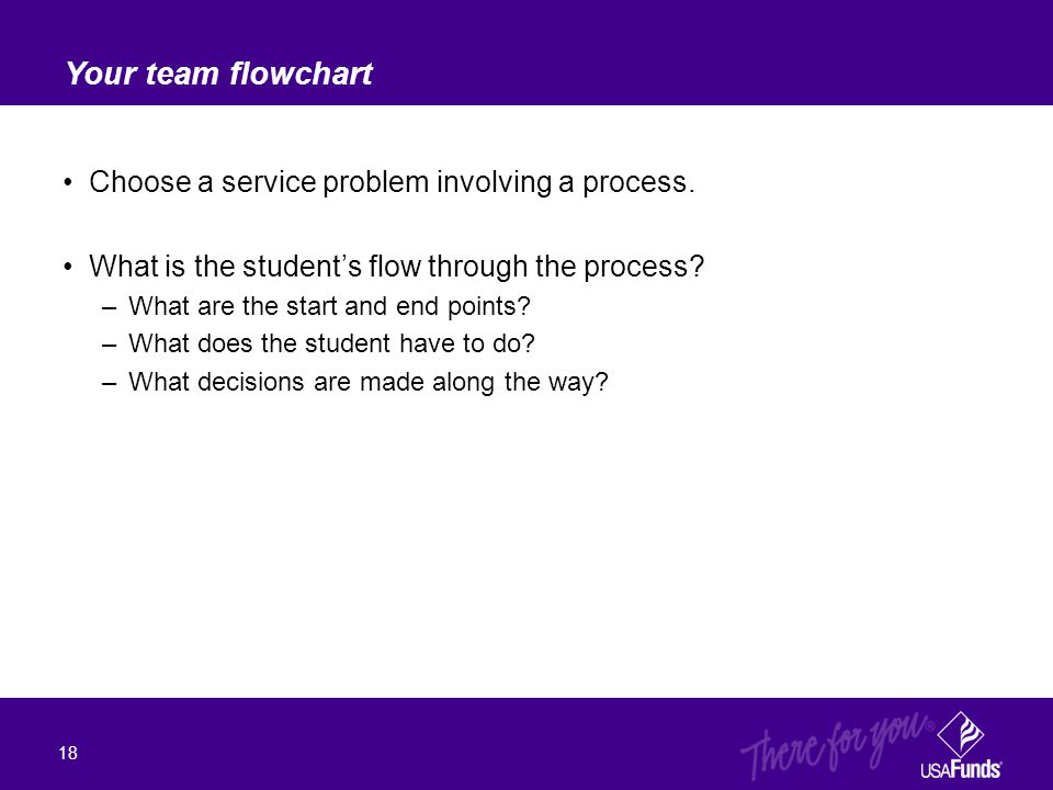 Choose a service problem involving a process. What is the student's flow through the process? –What are the start and end points? –What does the stude