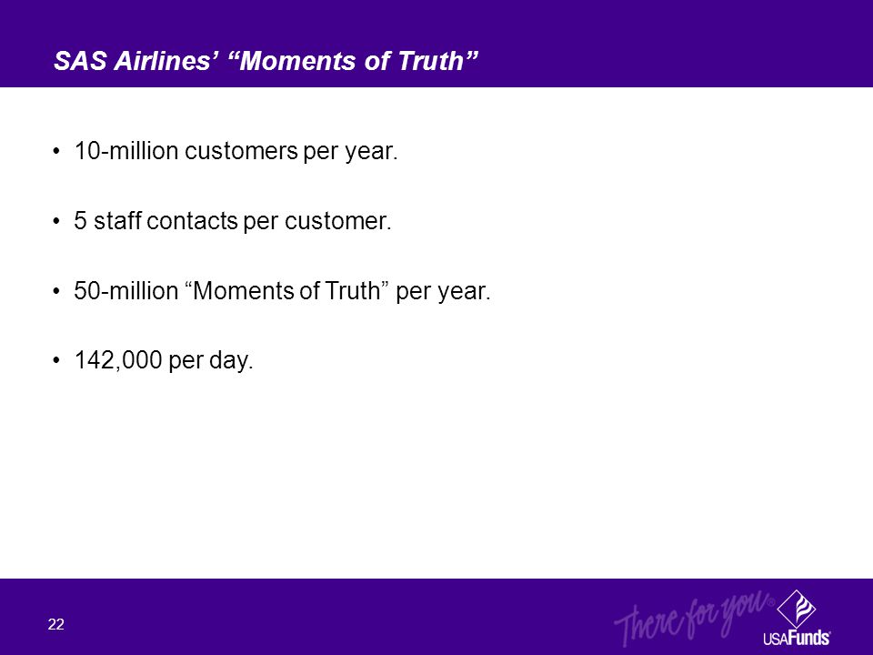 "10-million customers per year. 5 staff contacts per customer. 50-million ""Moments of Truth"" per year. 142,000 per day. SAS Airlines' ""Moments of Truth"