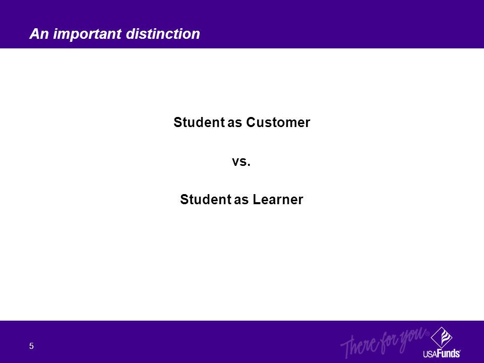 Student as Customer vs. Student as Learner An important distinction 5