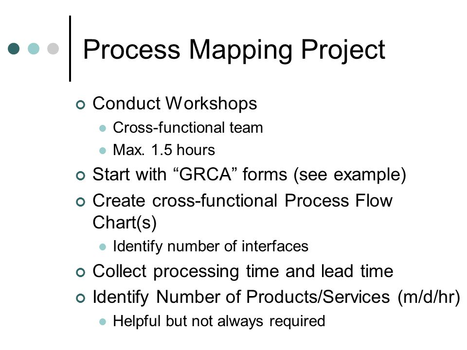 Process Mapping Project Conduct Workshops Cross-functional team Max.
