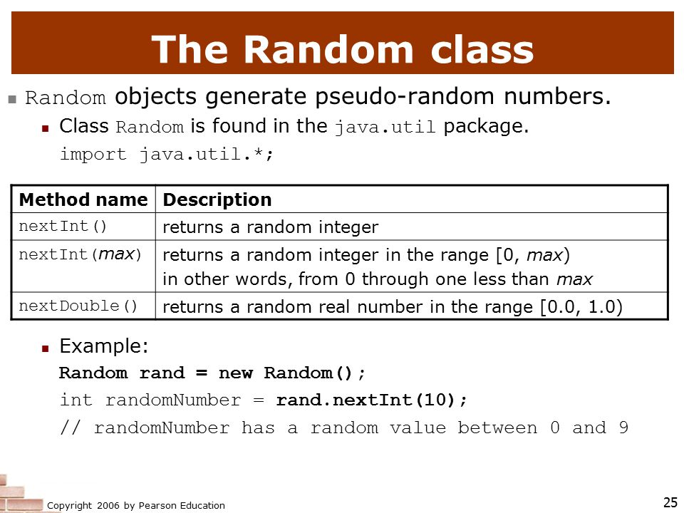 Copyright 2006 by Pearson Education 25 The Random class Random objects generate pseudo-random numbers.
