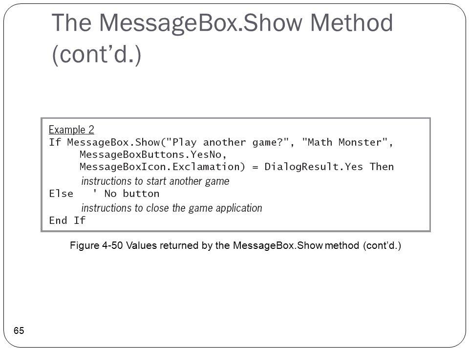 The MessageBox.Show Method (cont'd.) 65 Figure 4-50 Values returned by the MessageBox.Show method (cont'd.)
