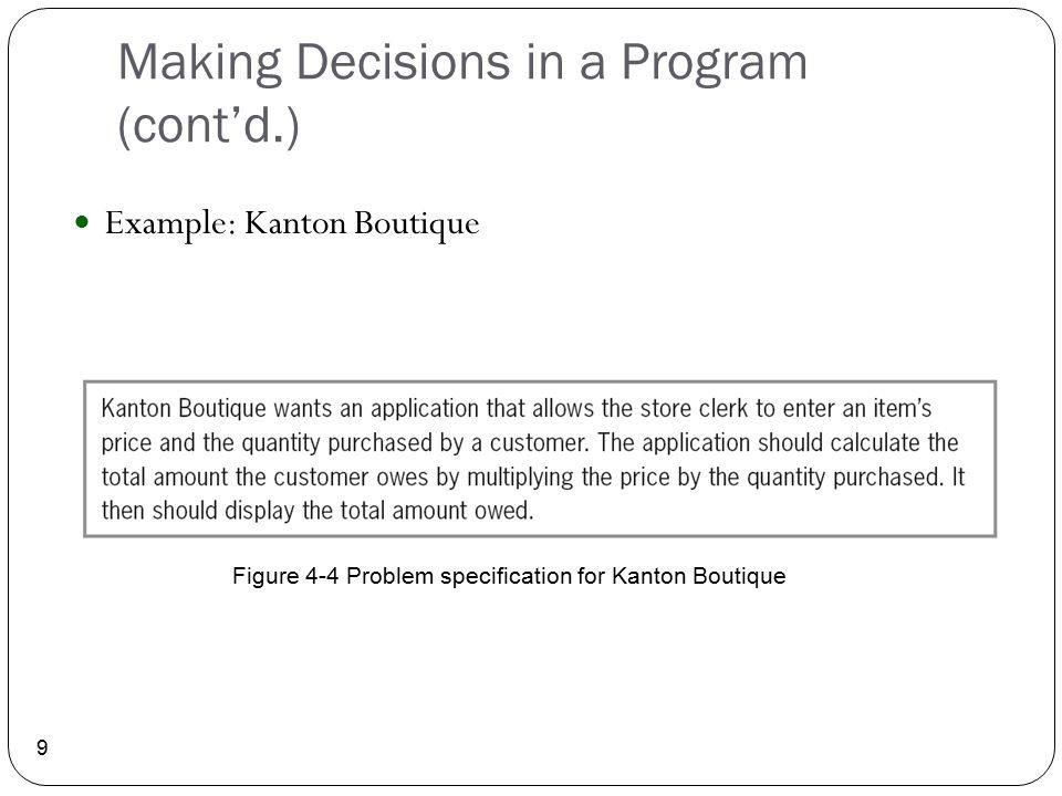 Making Decisions in a Program (cont'd.) 9 Example: Kanton Boutique Figure 4-4 Problem specification for Kanton Boutique