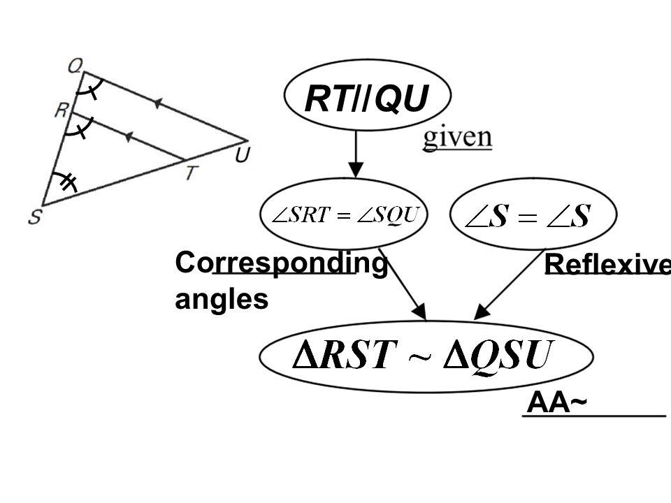 RT//QU Corresponding angles Reflexive AA~