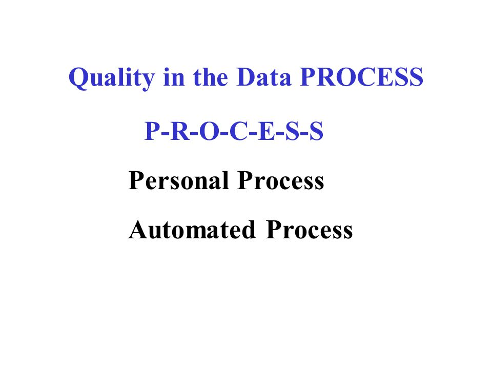 Quality in the Data PROCESS P-R-O-C-E-S-S Personal Process Automated Process