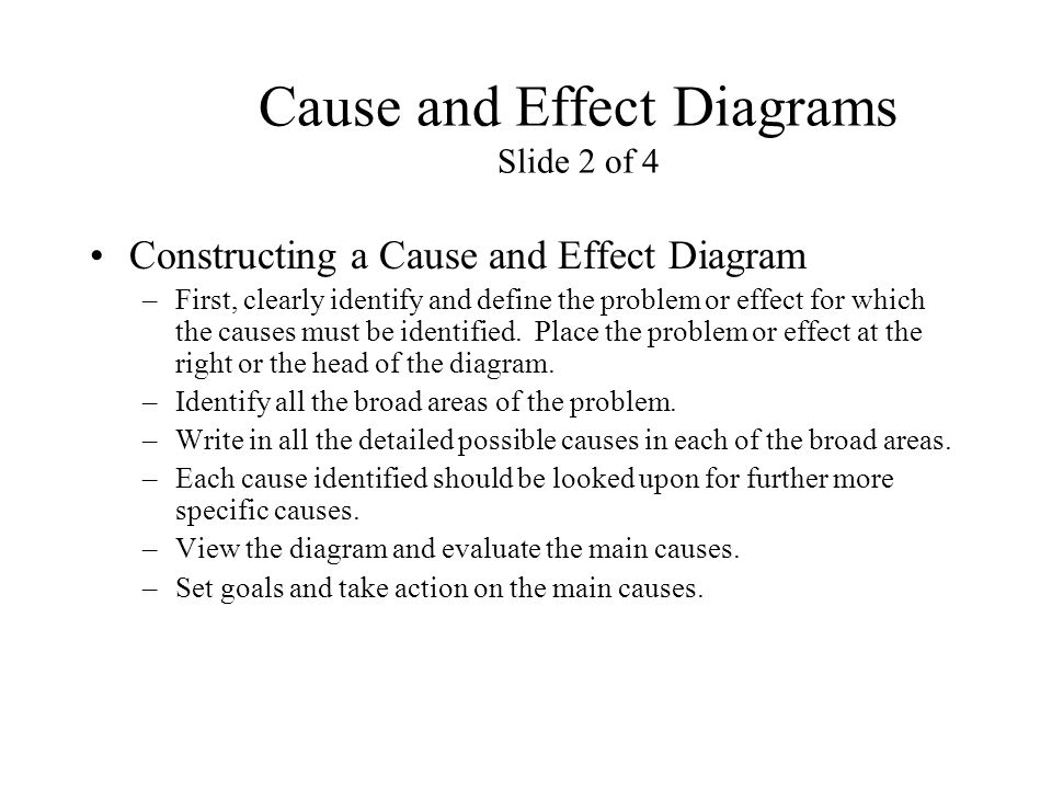 Cause and Effect Diagrams Slide 2 of 4 Constructing a Cause and Effect Diagram –First, clearly identify and define the problem or effect for which the