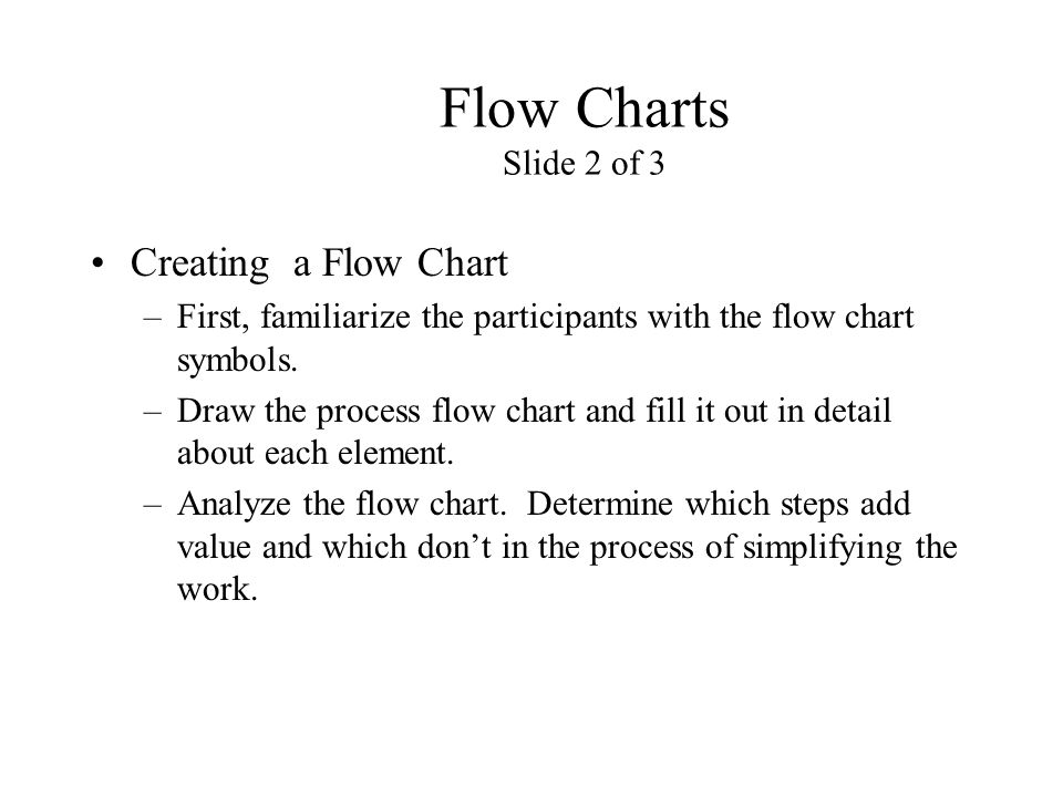 Flow Charts Slide 2 of 3 Creating a Flow Chart –First, familiarize the participants with the flow chart symbols. –Draw the process flow chart and fill