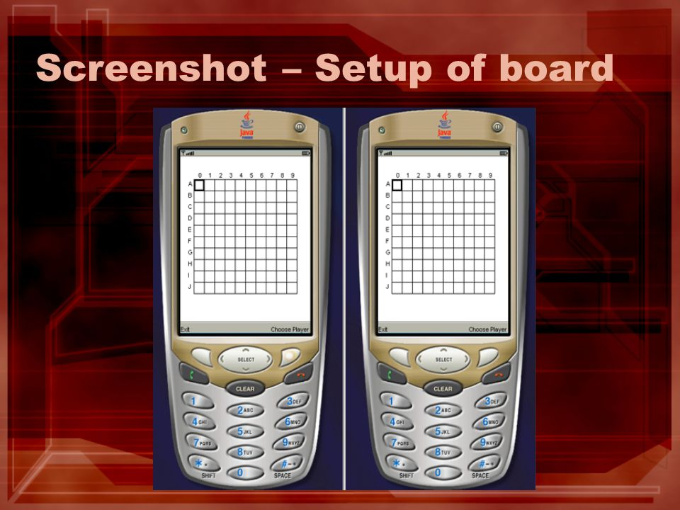 Screenshot – Setup of board
