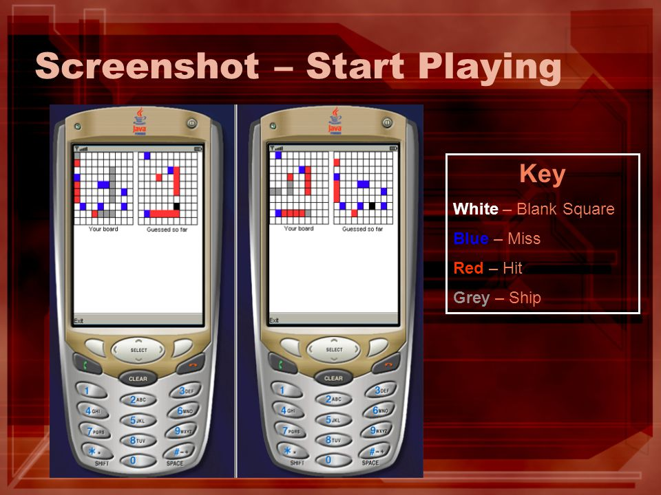 Screenshot – Start Playing Key White – Blank Square Blue – Miss Red – Hit Grey – Ship